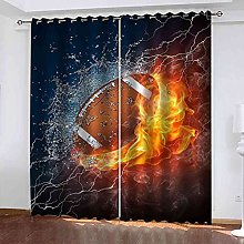 STWREO Blackout Window Curtains Flame Rugby 118x