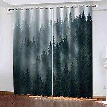 STWREO Blackout Window Curtains Misty forest