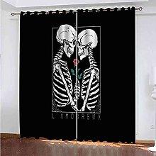 STWREO Blackout Window Curtains Skeleton couple