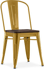 Style Tolix Square Chair - Metal and Dark Wood Gold