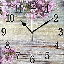 Stylish Modern Wall Clock, Lilac Flowers On Wooden