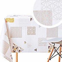 Stylish Wipe Clean Tablecloth White Cream Beige