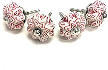 Stylla London® Set of 4  Red & White Hand Painted