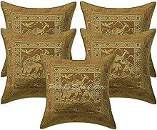 Stylo Culture Brocade Indian Sofa Cushion Covers