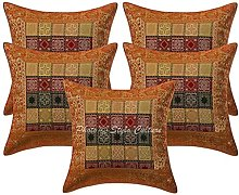 Stylo Culture Brocade Indian Sofa Scatter Cushions