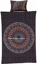Stylo Culture Ethnic Cotton Dark Blue Red Duvet
