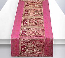 Stylo Culture Indian Coffee Table Runner Magenta