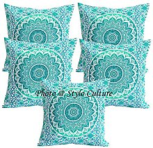 Stylo Culture Indian Throw Pillow Covers Green