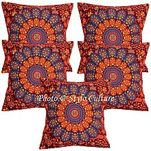 Stylo Culture Indian Throw Pillows For Beds Maroon