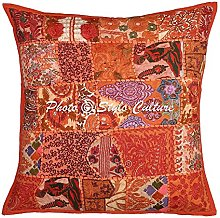 Stylo Culture Indian Throw Pillows For Beds Orange