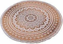 Stylo Culture Mandala Round Towel Brown Printed