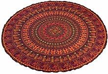 Stylo Culture Mandala Round Towel Maroon Printed