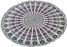 Stylo Culture Round Mandala Blanket Throw White