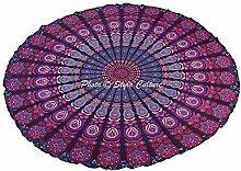 Stylo Culture Round Mandala Throw Purple Printed