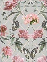 Sublime Botanical Trellis Grey / Pink Wallpaper