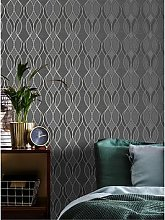 Sublime Ribbon Geo Charcoal Wallpaper