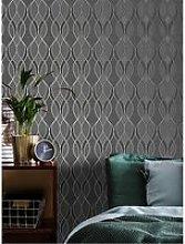 Sublime Ribbon Geo Charcoal Wallpaper