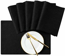 subrtex Linen Placemats Set of 6 Stain Resistant