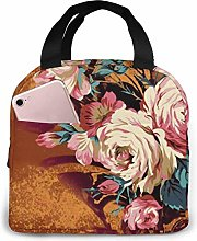 Subshrubby Peony Flower Pink Flamingo Lunch Bag