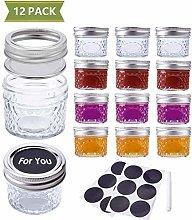 SUCHDECO Glass Jars 12 Pack Canning Jars 100 ml