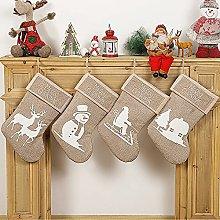 Sucpur Burlap Christmas Stockings - 4 Pack 18 inch