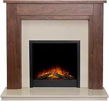Sudbury Fireplace in Walnut & Beige Marble with