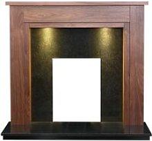 Sudbury Fireplace in Walnut & Black Granite with