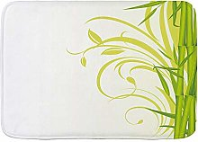 SUDISSKM Bath Mat,Bamboo with Floral Curly Leaves