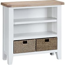 Suffolk White Painted Oak Small Wide Bookcase with