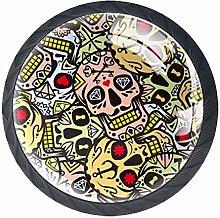 Sugar Skull Anchor Pattern Cabinet Door Knobs