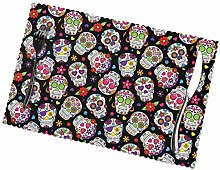 Sugar Skull and Flowers Placemats Set of 4 Table
