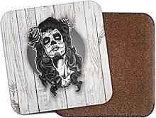 Sugar Skull Girl Cork Backed Drinks Coaster for