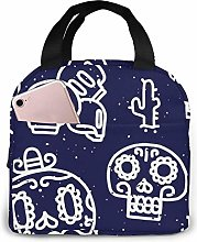 Sugar Skulls Navy Insulated Lunch Bag Lunch Box
