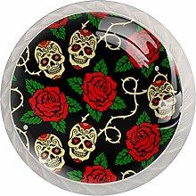 Sugar Skulls with Red Rose Round Knob Metal