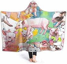 SUGARHE Hoodie Blanket Warm Flannel,Pink Pig Wild