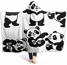 SUGARHE Hoodie Blanket Warm Flannel,Playful Panda