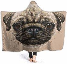 SUGARHE Hoodie Blanket Warm Flannel,Pug Detailed