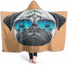 SUGARHE Hoodie Blanket Warm Flannel,Pug Dog With