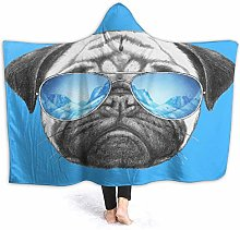 SUGARHE Hoodie Blanket Warm Flannel,Pug Portrait