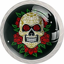 Sugarskull with Roses 4 PCS Crystal Clear Glass