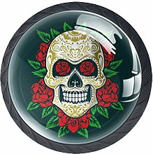 Sugarskull with Roses Colorful Crystal Glass