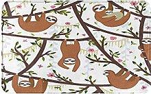 SUHETI carpet bath mat,rug,Funny Sloths Hanging On