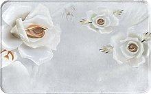 SUHETI carpet bath mat,rug,White Rose Floral