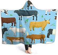 SUHETI Hoodie Blanket Warm Flannel,Set Of Bulls