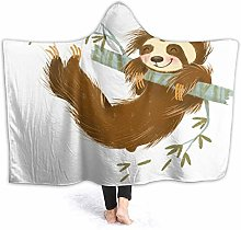 SUHETI Hoodie Blanket Warm Flannel,Sloth Happy