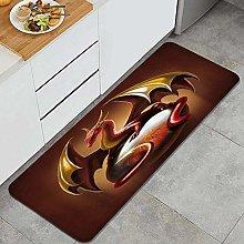 SUHETI Kitchen Rug,Cartoon Dragon Red Dragon with