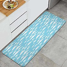 SUHETI Kitchen Rug,Cartoon Sky with Fluffy Clouds
