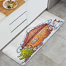 SUHETI Kitchen Rug,Cartoon Style Cute House with