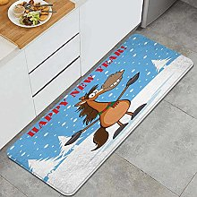 SUHETI Kitchen Rug,Cartoon Typography with a