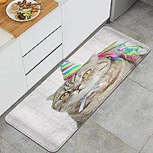 SUHETI Kitchen Rug,Cat with Colorful Unicorn Horns